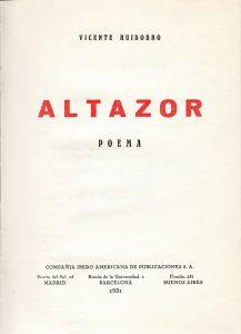 Altazor, 1931.