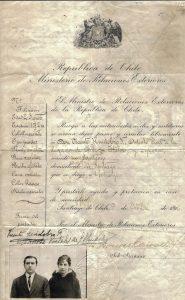 26. VH y Manuela Portales, Pasaporte 1916